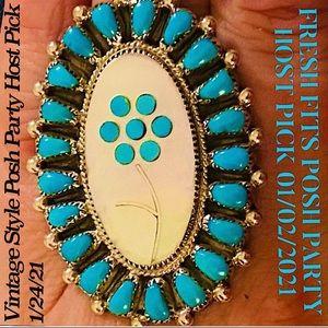 2XHP💕Vintage Zuni MOP Turquoise Mosaic .925 Ring